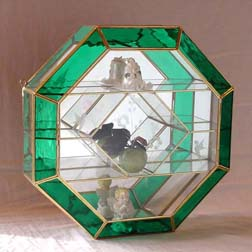 Medium Size Octagon Shaped Green Curio Cabinet